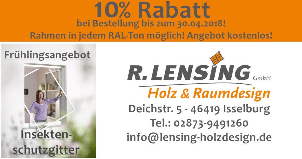 10% Rabatt auf Insektenschutzgitter in Bocholt, Isselburg, Borken