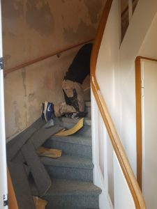 Renovierung einer alten Holzwangentreppe in Bocholt, Isselburg